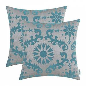 CaliTime Pack of 2 Cushion Covers Throw Pillow Cases Shells for Home Bench Sofa 45cm X 45cm, Flocking Dahlia Floral Compass Geometric, Grey Teal