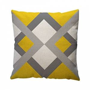 Watopi Mustard Geometric Pattern Cushion Cover, Yellow Painting Pillowcase, Cotton Line, Home Decoration, 45cm *45cm, 1 pc, Square, for Sofa Armchair Bed Car Office Lounge Gift (45cm*45cm, G)