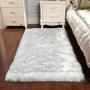 QY Fluffy Lambskin Carpet Faux Fur Sheepskin Artificial Sheepskin Rug Decoration Fur Appearance Wool Mattress Living Room Sofa Cushion Bedroom Children's Room Dining Room(Color:A,Size:200X150CM)