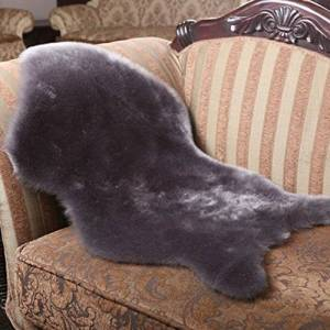 DOOT Soft Fluffy Carpets Couch Seat Cushion Sheepskin Chair Cover For Bedroom Floor Armchair Living Room,Faux Sheepskin Rugs-Grey 75x200cm(30x79inch)