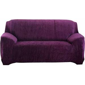 Hengweiuk Thick Sofa Covers, Premium Pure Color Sofa Protector 1/2/3/4 Seater Velvet Sofa Slipcover Stretch Easy Fit Stylish Furniture Cover Pet Dog Protector (Purple, 2 Seater/Loveseat)
