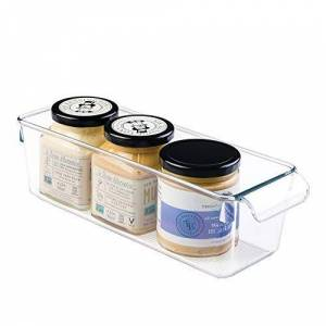 InterDesign iDesign Plastic Kitchen Organiser, Small Fridge Storage Bin Made of Durable Plastic, Practical Cupboard Storage Box for Condiments and Food Storage, Clear