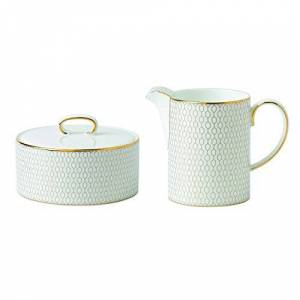 Wedgwood Arris Covered Sugar Bowl and Creamer Set