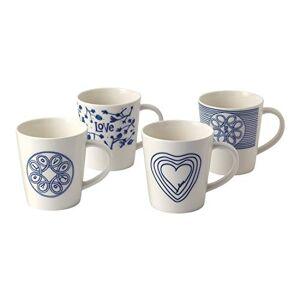 Royal Doulton Gift Set Ellen Degeneres Love 40027656 Mug 475ml Set of 4, Porcelain, Blue, Multi