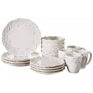 American Atelier Holiday Round Dinnerware Set 16-Piece Ceramic Party Collection w/ 4 Dinner Salad Plates, 4 Bowls & 4 Mugs Gift Idea for Special Occasions, White, Bianca Holly