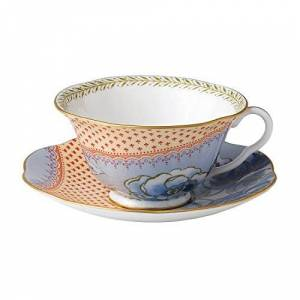 Wedgwood Harlequin Collection Butterfly Bloom Teacup and Saucer Blue