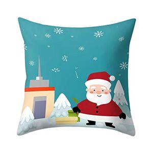 AJFIEF Christmas Square Pillow Case Cushion Cover, Decorative Santa Claus Snowman Couch Pillow Cover, Merrry Christmas Throw Soft Cushion Cover, Festival Home Decor Xmas Gift (E)