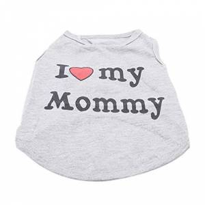 Toporchid Summer Dog Vest Shirt Clothes Coat Pet Cat Puppy Cotton Vests I Love My Daddy Mommy Clothing For Dogs Costumes(XS,Mommy)