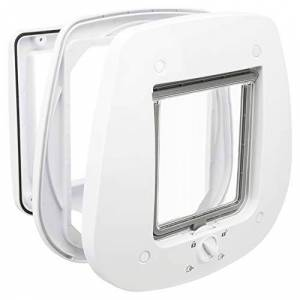 Trixie 4-Way Cat Flap for Glass Doors, White, 680 g