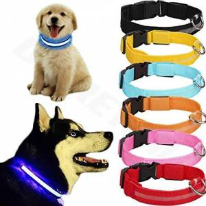 Generic Blue USB Rechargeable LED Dog Collar Flashing Luminous Safety Light Up Bright Glowing (Material Sample NO COLLAR)