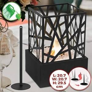 Jago Tabletop Bio-Ethanol Fireplace - 20.7 x 20.7 x 29.5 cm, Stainless Steel Body and Grid, Single Burner, with Extinguishing Tool & Decorative Stones - Portable Fire Pit