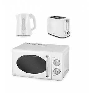 T0wer White Modern Tower Electrical Kitchen Appliance Set - White 2 Slice Toaster and 1.7L 3kW Traditional Jug Kettle and a White Manual Microwave, 800 W, 20 L
