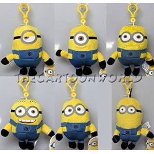 Joy Toy 90349 Minions 3 Assorted Designs 3D Clip on Keychain in Plush Velboa