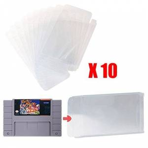 Mcbazel LOT 10 Clear Case Sleeve Protector for Super Nintendo SNES Games Cartridge (Set of 10)