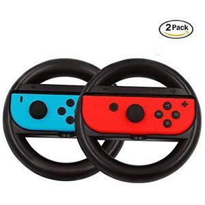 Donger Nintendo Switch Joy-Con Wheel Pair, Joy-con Steering Wheel Handle Controller for Nintendo Switch, 2 x Black