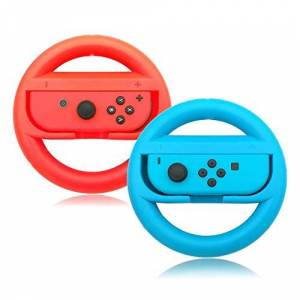Third E Jane Choi Switch Steering Wheel Controller, Joy-Con Racing Hand Grips for Nintendo Switch Mario Kartfor Nintendo, Red and Blue (2 Pack)