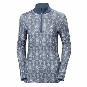 Helly Hansen W Lifa Merino Graphic 1/2 Zip Womens Baselayer Blue L