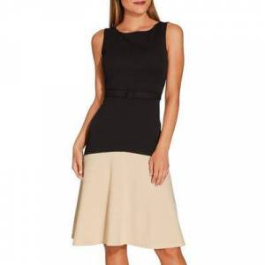Boston Proper - Belted Colorblock Fit And Flare Dress - Black/khaki - X Small