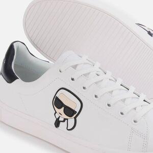 Karl Lagerfeld Men's Kourt Karl Ikonic 3D Lace Leather Cupsole Trainers - White/Black - UK 6