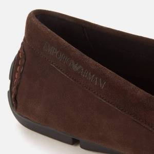 Emporio Armani s Suede Driving Shoes - Brown - UK 11