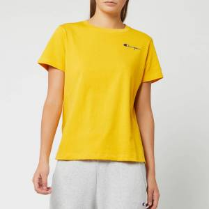 Champion Women's Small Script Crew Neck Short Sleeve T-Shirt - Golden Rod - L