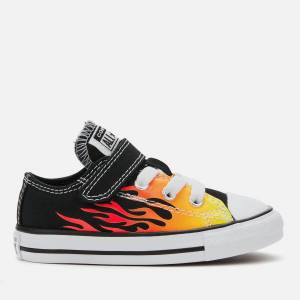 Converse Toddlers' Chuck Taylor All Star 1V Archive Flame Ox Trainers - Black/Enamel Red/Fresh Yellow - UK 7 Toddlers