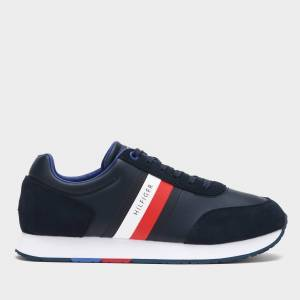 Tommy Hilfiger Men's Corporate Leather Flag Running Style Trainers - Desert Sky - UK 9