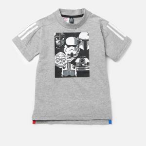 adidas Boys' Star Wars Short Sleeve T-Shirt - Medium Grey Heather - 4-5 years