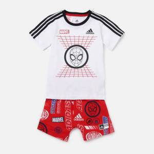 adidas Boys' Infant Dy Spider-Man T-Shirt and Short Set - White/Red - 12-18 months