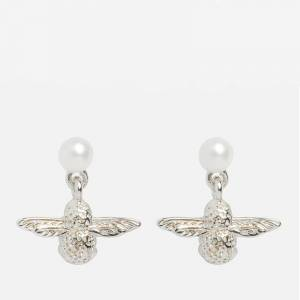 Olivia Burton Women's Pearl & Bee Drop Earrings - Silver