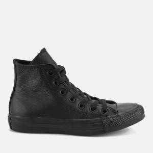 Converse Chuck Taylor All Star Leather Hi-Top Trainers - Black Monochrome - UK 6