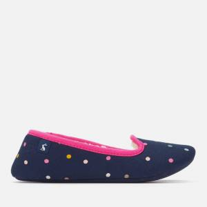 Joules Women's Dreama Fleece Lined Printed Slippers - French Navy Spot - S - Navy