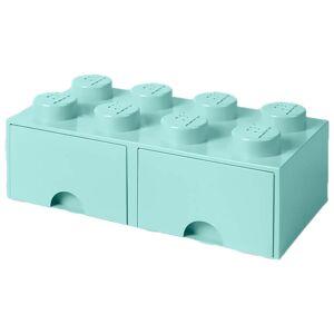 Room Copenhagen LEGO Storage 8 Knob Brick - 2 Drawers (Aqua Light Blue)