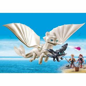 Playmobil DreamWorks Dragons Light Fury with Baby Dragon and Children (70038)