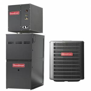 2.5 Ton A/C Goodman 14 SEER Central Air Conditioner 60,000 BTU 80% Efficiency Gas Furnace Up-flow System - Heat and Cool