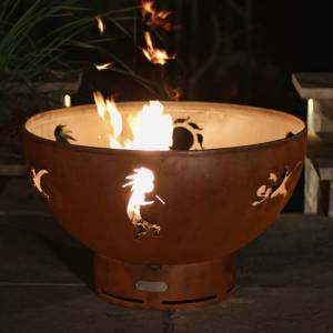 Fire Pit Art Kokopelli Outdoor Gas Fire Pit - Heat and Cool