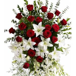 Blooms Today Lily and Rose Tribute Spray Flower Delivery