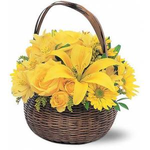 Blooms Today Yellow Flower Basket Flower Delivery