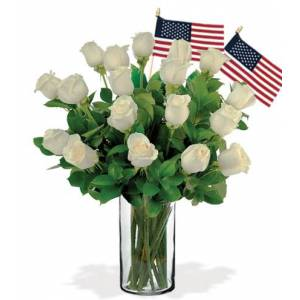 Blooms Today 18 White Roses with USA Flags Flower Delivery