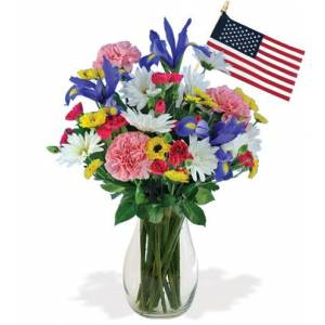 Blooms Today Thoughts of You with USA Flag Flower Delivery