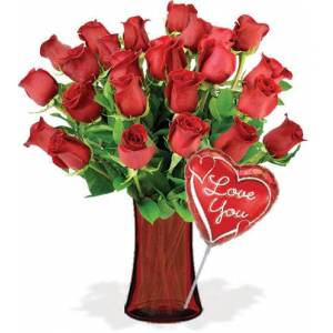 Blooms Today 24 Red Roses with Vase & Love Balloon Flower Delivery