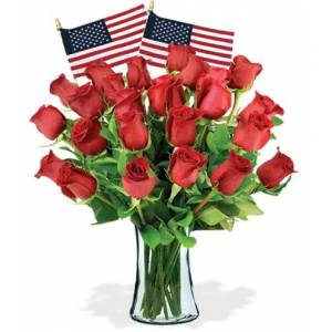 Blooms Today 24 Red Roses & USA Flags Flower Delivery