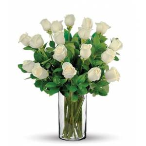 Blooms Today 18 White Long-Stem Roses Bouquet Flower Delivery