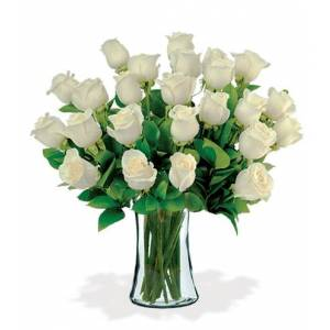 Blooms Today 24 White Long-Stem Roses Bouquet Flower Delivery