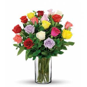Blooms Today 18 Multi-Color Long-Stem Roses Bouquet Flower Delivery