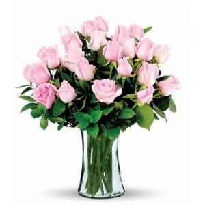 Blooms Today 24 Pink Long-Stem Roses Bouquet Flower Delivery