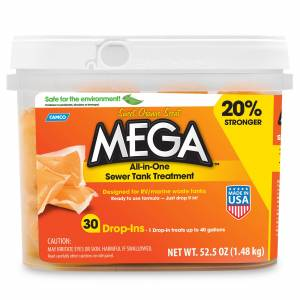 Camco Mega All-in-One Sewer Tank Treatment, Orange Scent, 30-Pack
