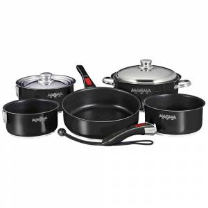 Magma Stainless Steel Nesting RV Induction Cookware, 10 Piece Set, Black