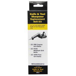 """Sharp Work Sharp WSKTS Assorted Replacement Belt Accessory Kit, 1/2"""" x 12"""", 6-Pack"""