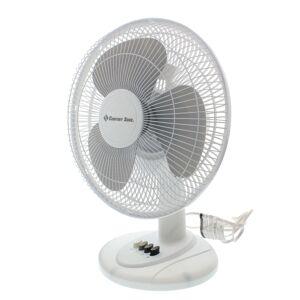 "White 12"" Oscillating Table Fan"